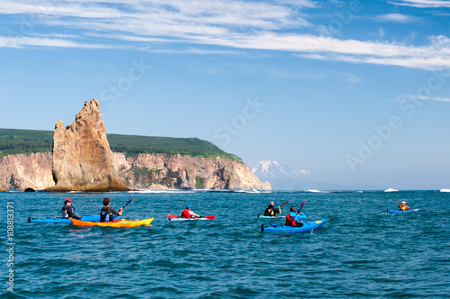 Valokuva  Sea kayaking along the coast of the Pacific Ocean, Kamchatka, Russia