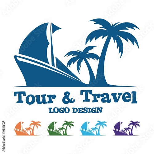 Tour And Travel Logo, Traditional Ship, Palm, Design Logo ...