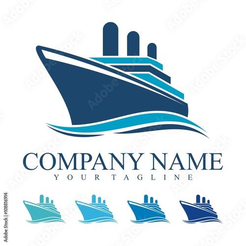 Fotografia  Ship Logo, cruise ship Logo Design Vector