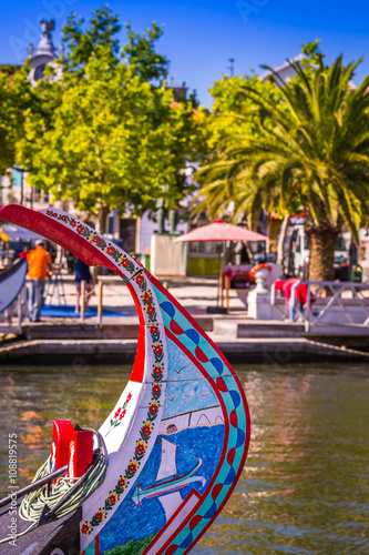Fotografie, Obraz  Typical Moliceiro,gondolas, in Vouga river. Aveiro, Portugal