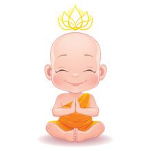 Vector Illustration. Lovely Meditating Buddhist Baby Boy