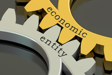 Economic Entity Concept On The Gearwheels, 3D Rendering
