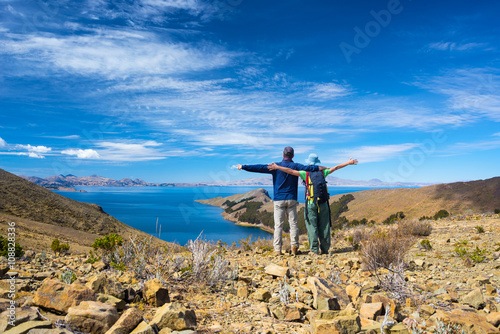 Valokuva  Couple on Island of the Sun, Titicaca Lake, Bolivia