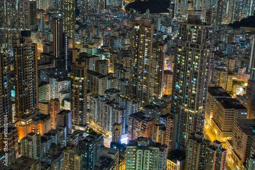 Foto  香港 高層ビルが立ち並ぶ光景 夕景・夜景