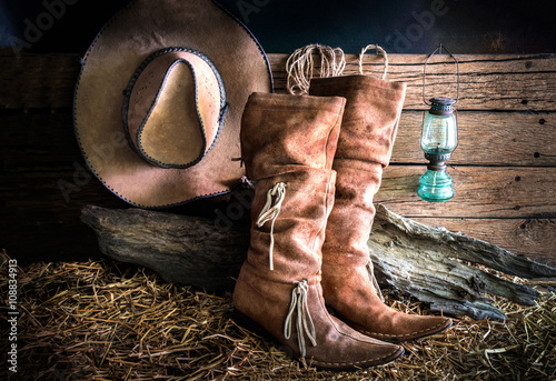Fotografia, Obraz  Still life with cowboy hat and traditional leather boots