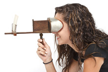 Teen Girl Using Stereoscope