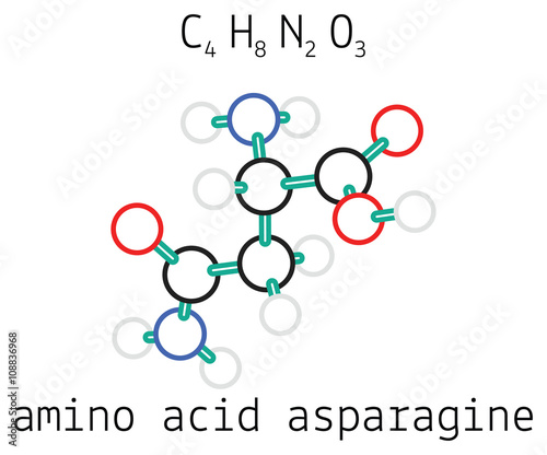 Photo C4H8N2O3 asparagine amino acid molecule