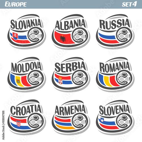 Photo  Vector logo for European football, soccer Slovakia, Albania, Russia, Moldova, Serbia, Romania, Croatia, Armenia, Slovenia, set 9 isolated illustrations: state flags, soccer balls
