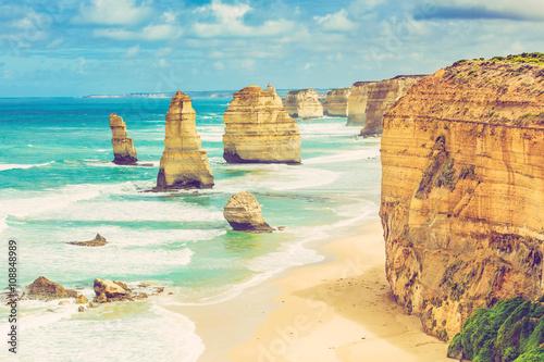 Deurstickers Australië Twelve Apostles rock formations, Great Ocean Road, Victoria, Australia. Image has retro filter applied