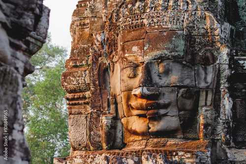 Towers with faces in Angkor Wat, a temple complex in Cambodia Wallpaper Mural