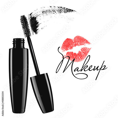 3a730b8ddac Makeup mascara tube, brush and stain isolated over white background.  Cosmetic product design vector illustration