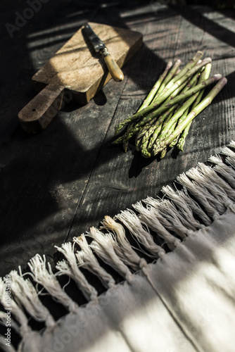 Asparagus on vintage table Wallpaper Mural
