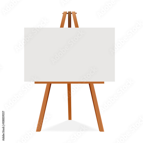 Photo  Wooden easel with canvas