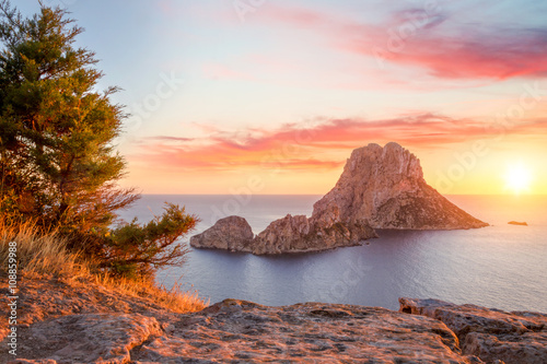 Es Vedra at sunset, Ibiza, Spain Plakat