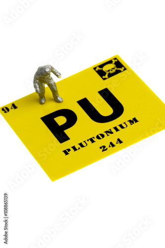 Plutonium Symbol Miniature Man Chemical Suit Plutonium Symbol With