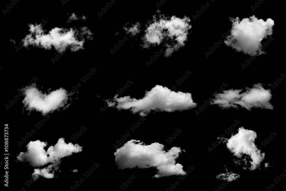 Fototapety, obrazy: Set of isolated clouds on black background.