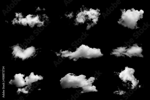 Aluminium Prints Heaven Set of isolated clouds on black background.