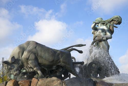 Photo  Gefion customize bulls. Fountain in Copenhagen, Denmark