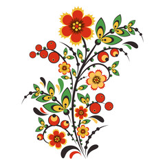 Obraz na Szkle Folklor Floral ornament in Hohloma style. Russian folklore