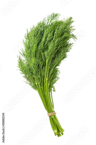 Photo bunch of dill on white background