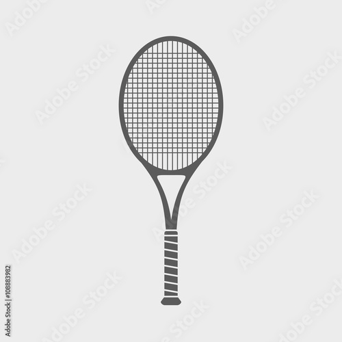 Photo Sign or icon with great tennis racket on light background