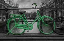 Green Bike Black And White Background