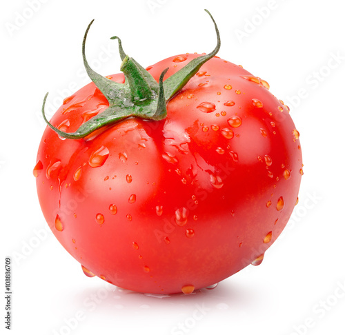 tomato with water drops isolated on the white background