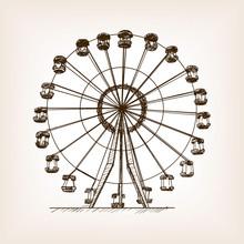 Ferris Wheel Sketch Style Vect...