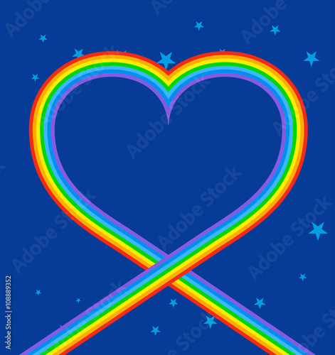 Photo  Heart of rainbow in sky. LGBT symbol of love. Blue skies and sta