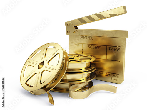 Photo  Golden Film Reels and Clapper board