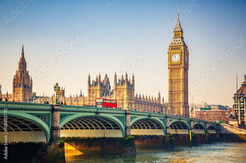 Aluminium Prints London Big Ben and westminster bridge in London