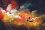 człowiek na łodzi w kosmosie z kolorową chmurą, ilustracja - 108897176