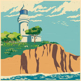 lighthouse on a cliff old poster - 108897193