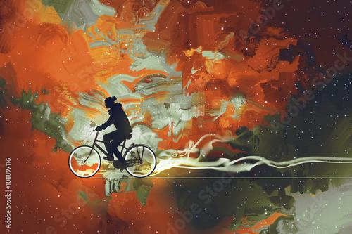 Sylwetki mężczyzna na bicyklu w wszechświacie wypełniali, ilustracyjna sztuka