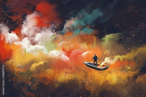 Photo man on a boat in the outer space with colorful cloud,illustration