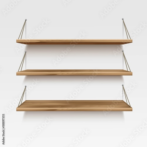 Astonishing Vector Empty Wooden Wood Shelf Shelves Isolated On Wall Download Free Architecture Designs Osuribritishbridgeorg