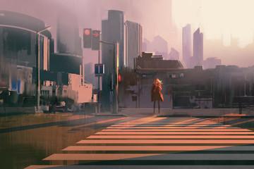 Fototapeta samoprzylepna lonely woman standing on urban pedestrian crossing,illustration painting