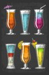Alcohol cocktail set. Vintage vector engraving illustration for web, poster, menu, invitation to summer beach party. Isolated on dark background.