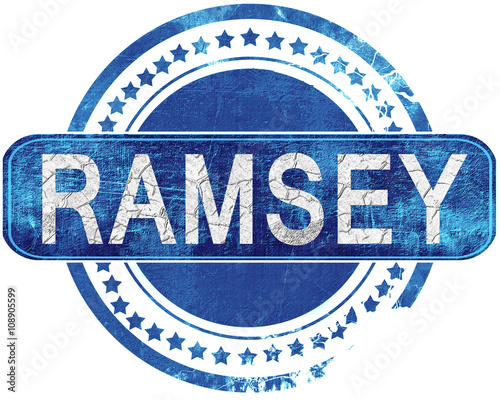 Canvas Print ramsey grunge blue stamp. Isolated on white.