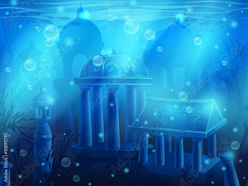 Atlantis. Seamless submerged underwater city, the ancient ruins Wallpaper Mural