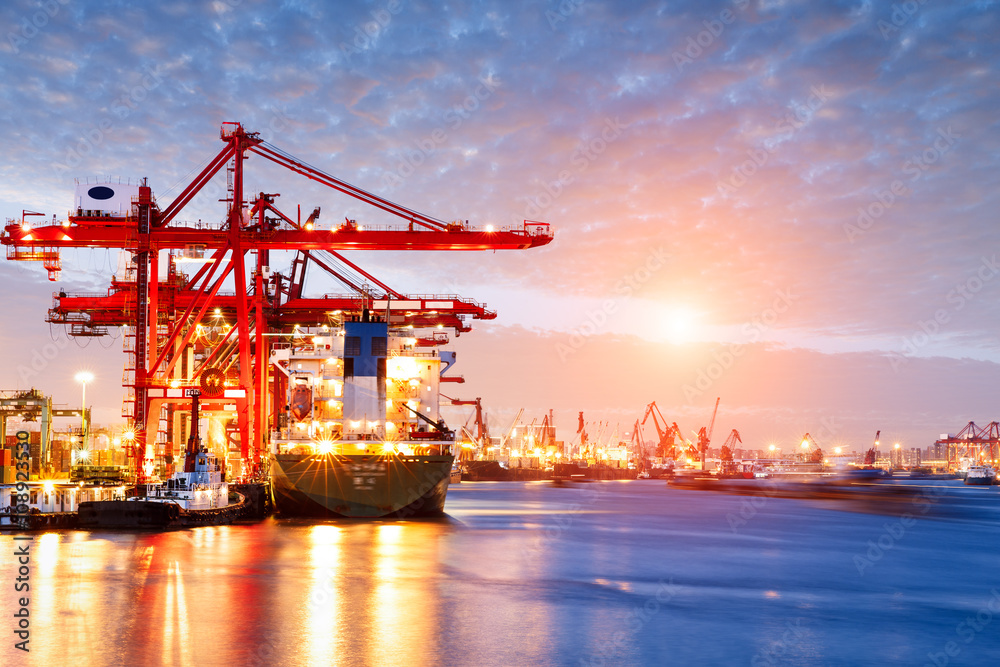 Fototapeta Industrial container freight Trade Port scene at sunset