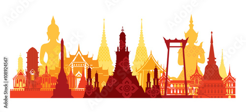 Thailand Landmark Skyline, Travel Attraction, Traditional Culture