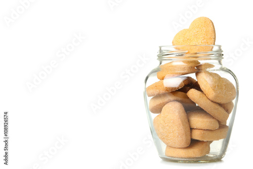 transparent open a jar with delicious cookies in the shape of hearts isolated on Fotobehang