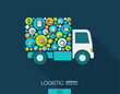 Color circles, flat icons in a truck shape for distribution, delivery, service, shipping, logistic, transport, market concepts. Abstract background with connected objects. Vector illustration.