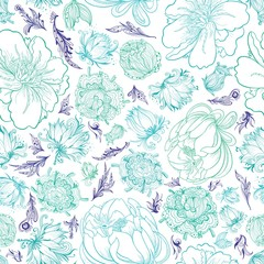 Panel SzklanyTurquoise Vector Sketch Floral Pattern