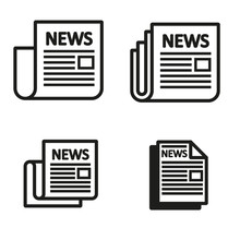 Vector Black Newspaper Icons Set On White Background. Icon Of News