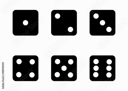 Vector black dice cubes icons set on white background Canvas Print