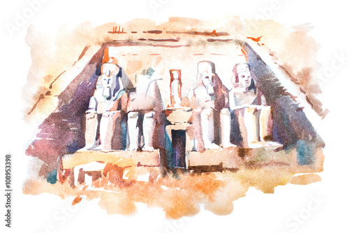 Obraz na plátně  Abu Simbel temples watercolor drawing, Egypt