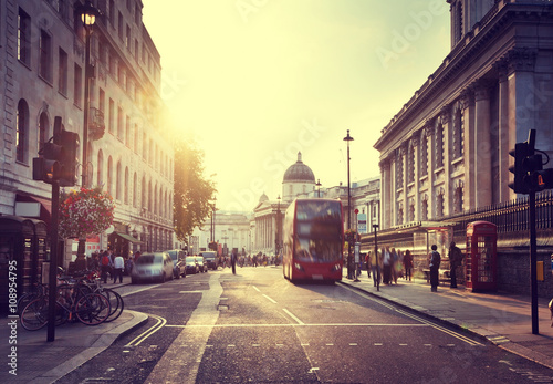 sunset near Trafalgar square, London, UK Canvas Print