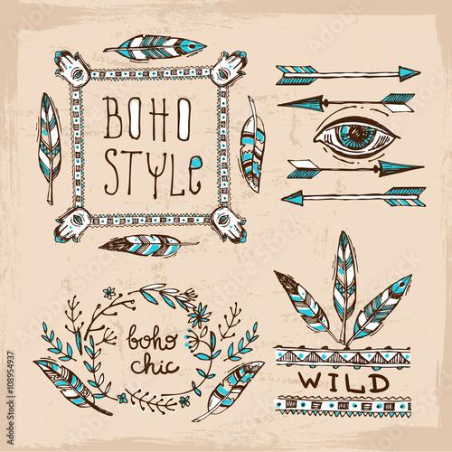 Fotografering  Boho vector illustration.